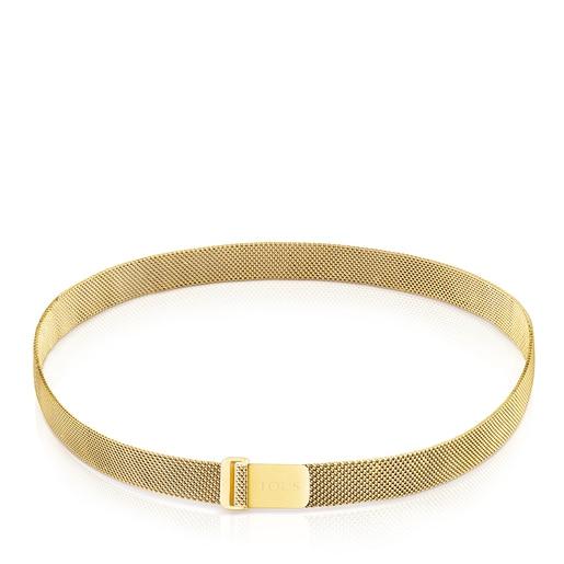 Enge Halskette Mesh aus goldfarbenem IP-Stahl