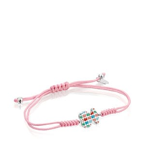Tartan Bracelet in Silver with pink Cord