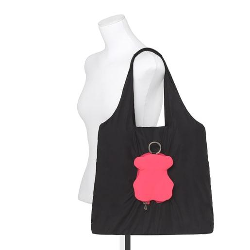 Foldable Black-Pink Bear Salsi Shopping Bag