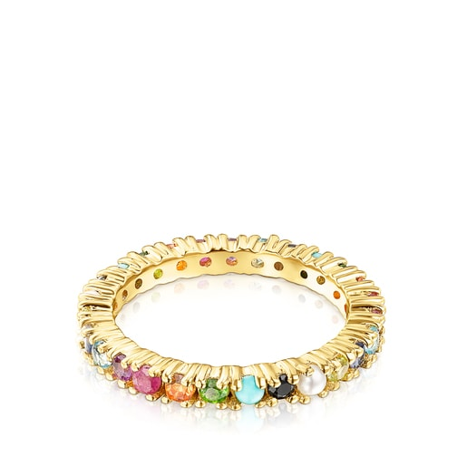 Silver Vermeil Straight Color Ring with Gemstones