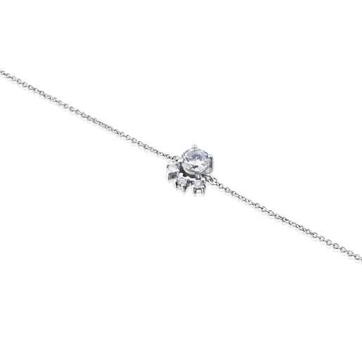 Pulsera Eklat de Oro blanco con Diamantes y Topacio