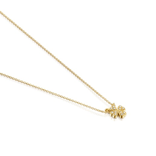 Gold TOUS Good Vibes clover Necklace with Diamonds
