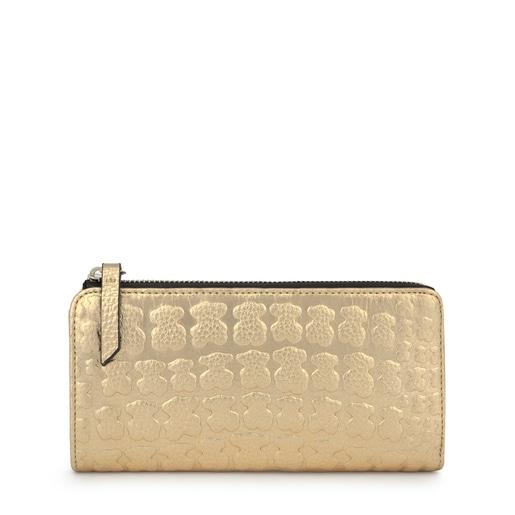 Mittelgroße Geldbörse Sherton aus goldfarbenem Leder