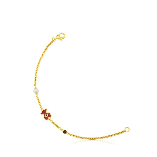 Vermeil Silver Face Bracelet with Enamel, Pearl and Spinel