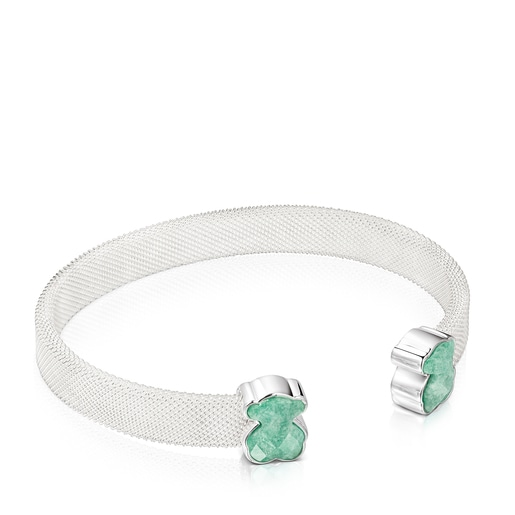 Silver Mesh Color Bracelet with Amazonite