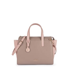 Pink-taupe Leather Rose Bear Bowling bag