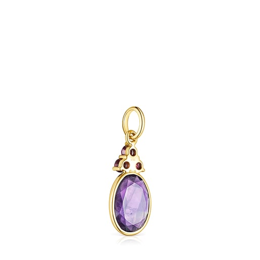Gold Luz Pendant with Amethyst and Rhodolite