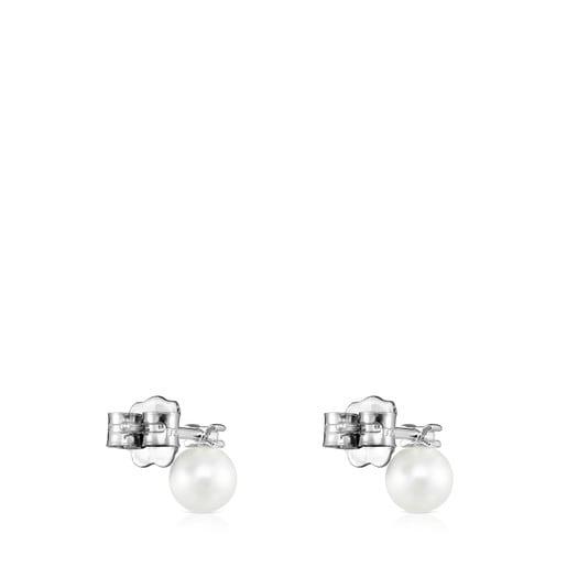 Aretes Les Classiques de Oro blanco con Diamante y Perla