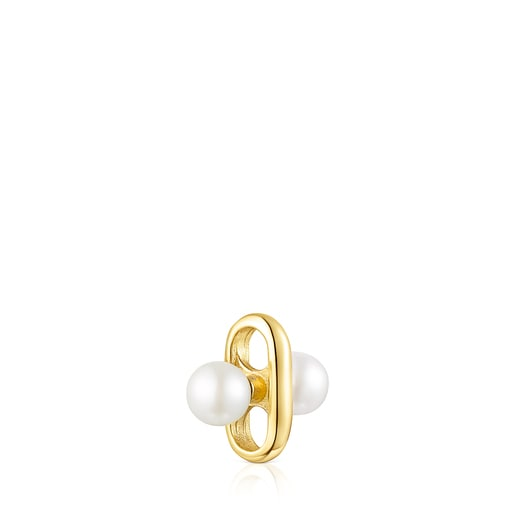 Applikation Hold aus Vermeil-Silber mit Perlen