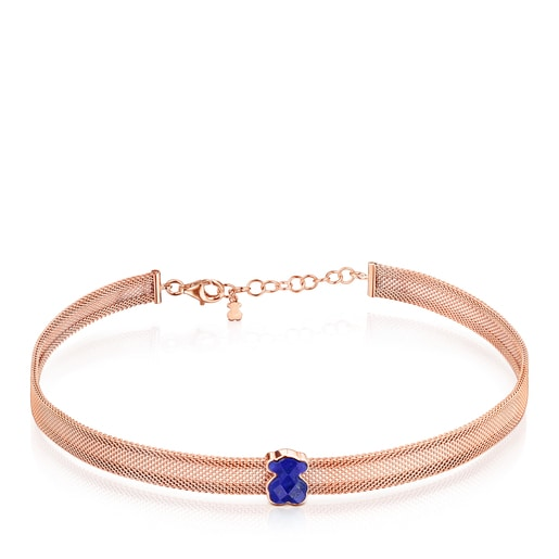 Rose IP Steel Mesh Color Necklace with Lapis Lazuli