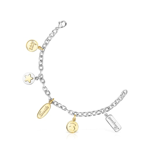 Two-toned Steel TOUS Good Vibes charms Bracelet