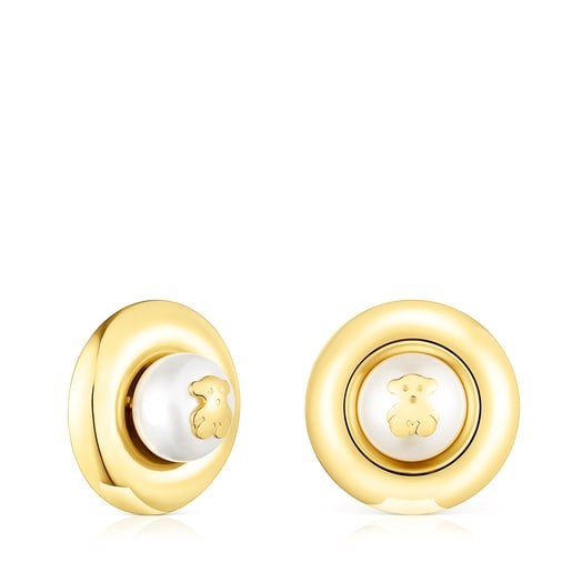 Large Silver Vermeil TOUS Basics disc Earrings with Pearl