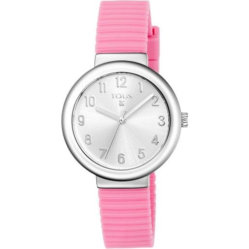 Rellotge Rainbow d'acer amb corretja de silicona rosa