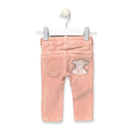 Calças skinny veludo de menina Pant Rosas
