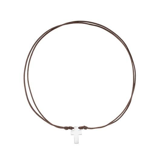Collar TOUS Cruz de Acero y Cordón en color marrón