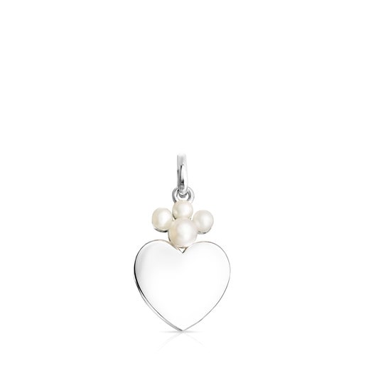 Silver Real Sisy heart Pendant with Pearls