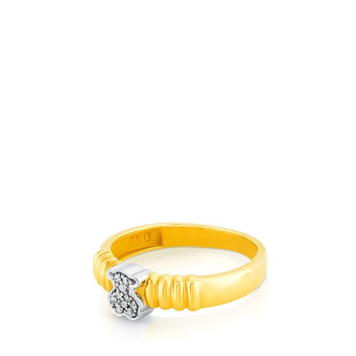 Yellow and White Gold TOUS Bear Ring with Diamond