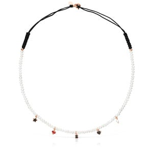 Pearl and black Cord Motif Necklace with rose Gold Vermeil and Gemstones