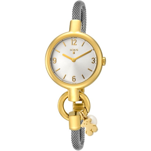 Gold-colored IP Steel Hold Charms Watch with steel strap