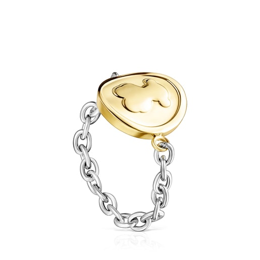 Two-toned Steel TOUS Good Vibes chain Ring