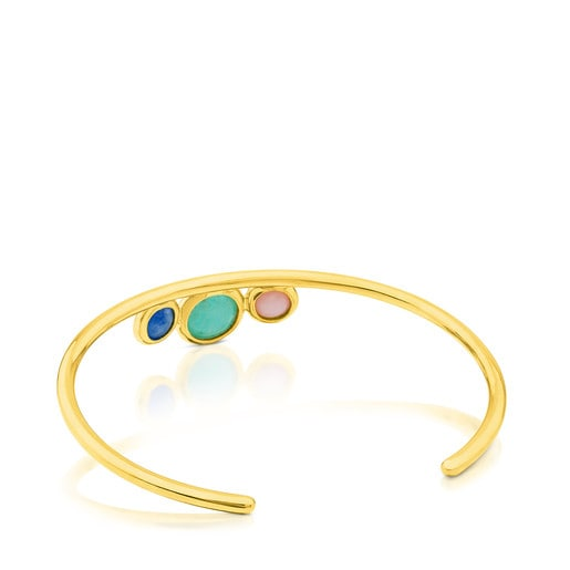 Vermeil Silver Alecia Bracelet with Amazonite, Rose Opal and Quartz with Dumortierite