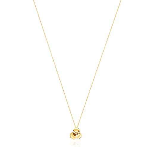 Collar Fragile Nature flor de oro y diamante