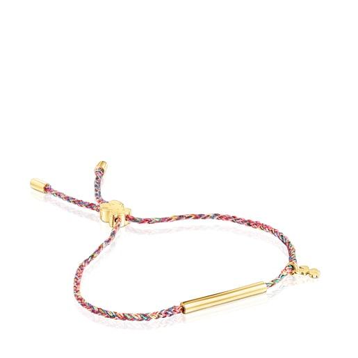 Βραχιόλι τετράφυλλο τριφύλλι TOUS Good Vibes από Ασήμι Vermeil με πολύχρωμο κορδόνι