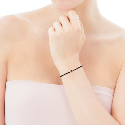 Motif cross Bracelet in Rose Silver Vermeil with Spinels and black Cord