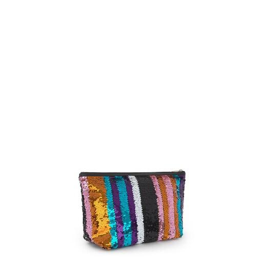 Small multicolored Kaos Shock Sequins Strips Handbag