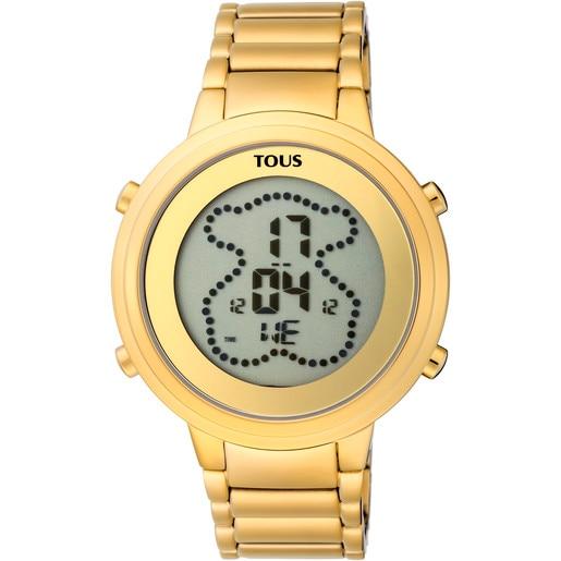 Reloj digital Digibear de acero IP dorado