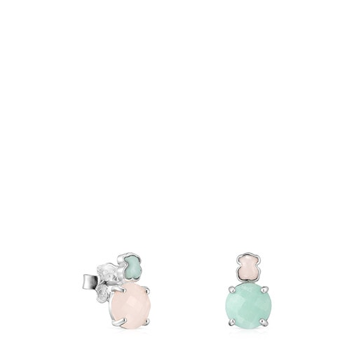 Mini Color Earrings in Silver with Amazonite and Pink Quartz