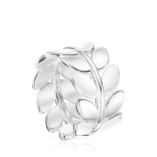 Silver Fragile Nature laurel leaf Ring