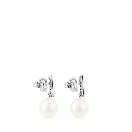 Aretes Les Classiques Oro blanco con Diamantes y Perla