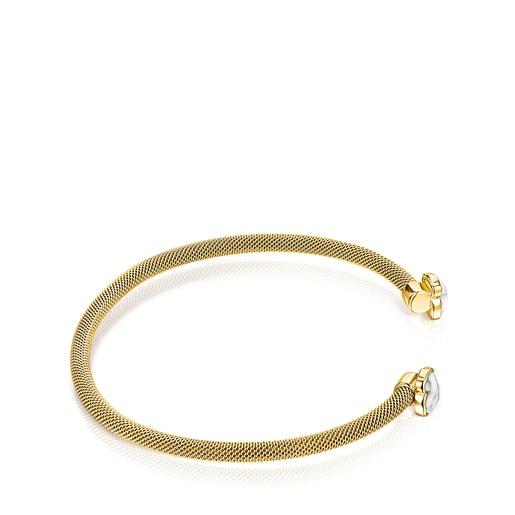 Fine gold-colored IP Steel Mesh Color Bracelet with Howlite