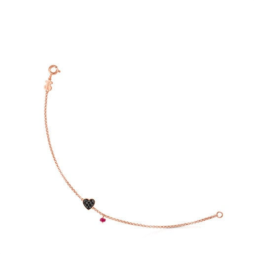 Rose Vermeil Silver TOUS Motif Bracelet with spinel and ruby