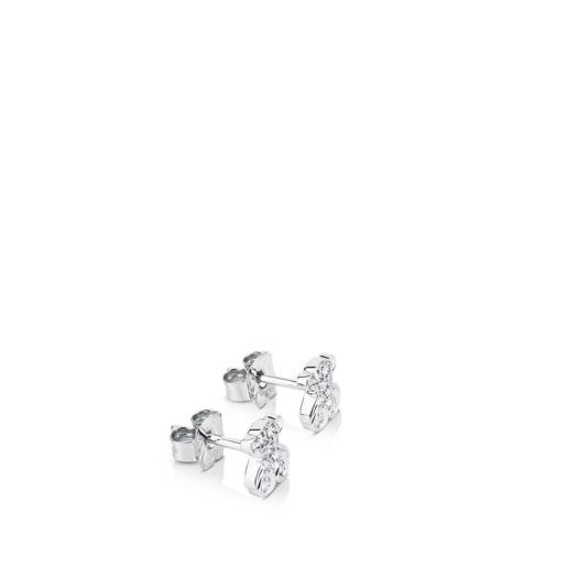 White Gold TOUS Bear Earrings with Diamonds Bear motif