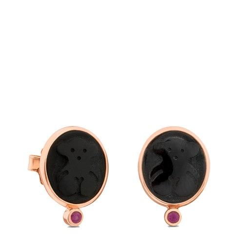 Boucles d'oreilles Camee en Argent Vermeil rose avec Onyx et Rubis