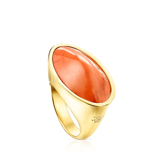 Silver Vermeil Cocktail Ring with orange Glass