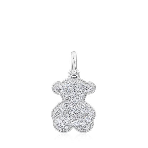 White Gold TOUS Icon Gems Bear large Pendant with Diamonds