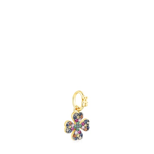 Silver Vermeil TOUS Good Vibes clover Pendant with Gemstones