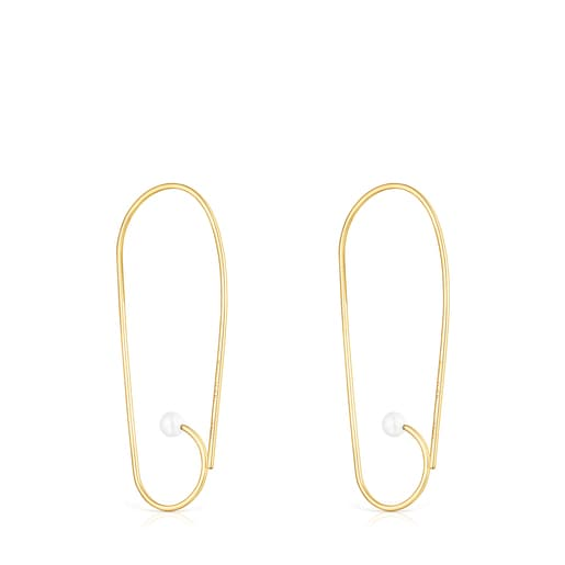 Long Silver Vermeil Nenufar Earrings with Pearls