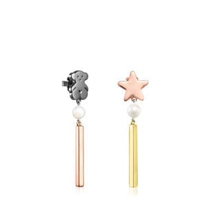 Long Gold Vermeil, rose Gold Vermeil Dark Silver and Pearl Sweet Dolls Earrings
