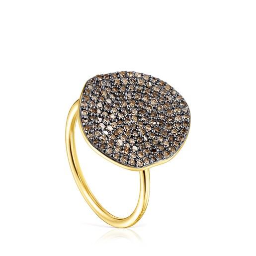Μεγάλο Δαχτυλίδι Nenufar από Ασήμι Vermeil με Διαμάντια