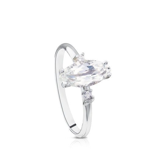 White Gold Eklat Ring with Diamonds and white Topaz