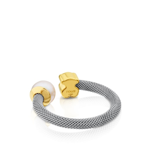 Steel and Gold Icon Mesh Ring with Pearl