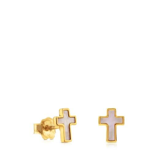 Pendientes cruz de oro y nácar XXS