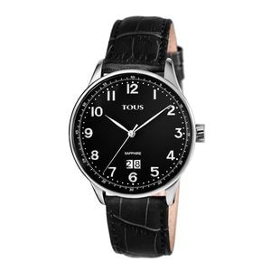 Steel Porto II Watch with black Leather strap