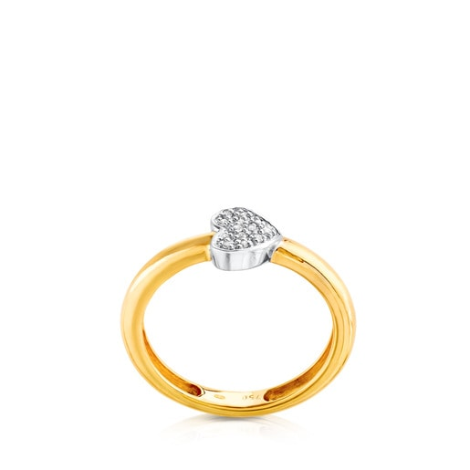Yellow and White Gold Gen Ring with Diamonds