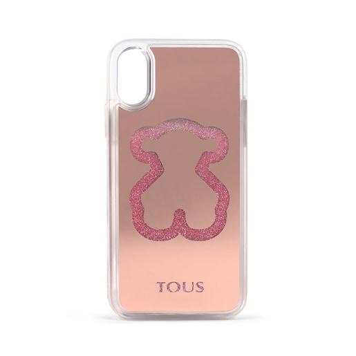Funda de móvil Delrey X-XS Glitter Mirror Bear rosa
