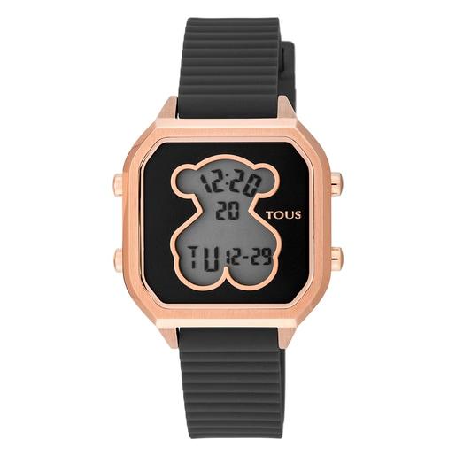 Relógio D-Bear Teen em Aço IP rosado com correia de Silicone preto